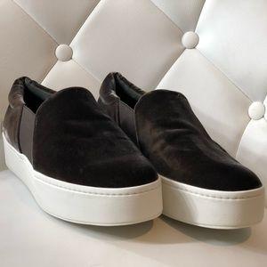 Brown Vince warren suede platform skate shoes